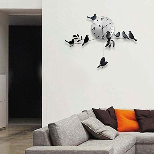 Schwarze Vögel Wand Uhr Kunst Designer Modern Familie Wohnzimmer ...