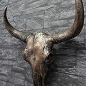 Wanddeko Wand Figur Stierkopf Skulptur Büffel Kopf Bullenkopf Schädel in Antik Kupfer 46 cm hoch