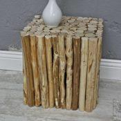 elbmöbel Hocker in braun aus Holz eckig (Würfel)