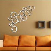 Moderne Kreis Spiegel 3D Spiegel Wandtattoo Wanddeko Wanddekoration Zimmer Aufkleber Spiegeleffekt mit Wischtuch aus Mikrofaser (rund, silber)