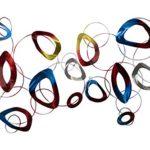 Extravagante KunstLoft® Metall Wandskulptur 'Less than Perfect' 72x146x5cm | Design Wanddeko XXL handgefertigt | Luxus Metallbild Wandrelief | Abstrakte Ringe & Kreise in Bunt | Wandbild modern