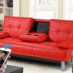 Neue Manhattan moderne'Sleep Design'Kunstleder, 3-Sitzer, mit Bluetooth-Stereo-Lautsprecher schwarz, Rot, Weiß, Grün oder Braun, Kunstleder, rot, Drei Sitze 60 watts