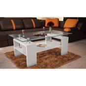 vidaXL Couchtisch Glastisch Beistelltisch weiß Tisch
