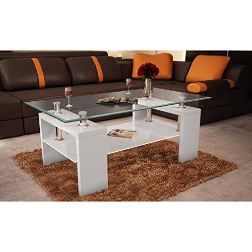 VidaXL Couchtisch Glastisch Beistelltisch Wei Tisch