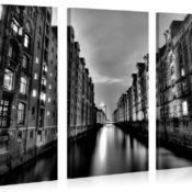 Black White Hamburg - Premium Kunstdruck Wand-Bild - 130x80cm XXL Leinwand-Druck in deutscher Marken-Qualität - Leinwand-Bilder auf Holz-Keilrahmen als moderne Wohnzimmer Deko