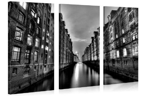 Black White Hamburg - Premium Kunstdruck Wand-Bild - 130x80cm XXL ...