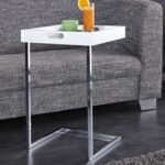 Invicta Interior Ciano Design Beistelltisch Tablett-Tisch weiß chrom 40 x 40 cm