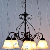 Reich verzierte Pendelleuchte Hängelampe in mattschwarz 5-flammig E14 230 Volt Decken Beleuchtung im Landhausstil für Esszimmer Küche Wohnzimmer