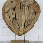 Teak Abstrakte Skulptur Teakholz massiv Wurzel Handgeschnitzt Unikat Herz groß 62cm L