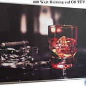 Infrarot Heizung 600 Watt Whiskyglas und Zigarre