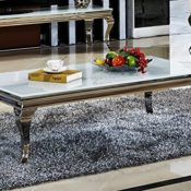 Couchtisch Wohnzimmertisch Luxus Aura 130 x 70 x 42 cm Weiß Barock stil Tisch rokoko Wohnzimmer Chrom Edelstahl weiss