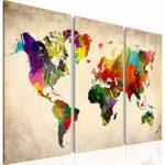 Weltkarte SENSATIONSPREIS !!! -1051339a- XXL Bilder 120x80 cm !!! Wasserfester Leinwanddruck ! 100 % MADE IN GERMANY !!! Vlies Leinwand Wandbild world map Fertig Aufgespannt Kreativ Deko