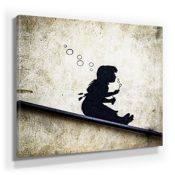 Banksy Streetart Bild F380, 1 Teil 80x80cm, Leinwand auf Holzrahmen aufgespannt, UV-stabil und wasserfest, Kunstdruck für Büro oder Wohnzimmer, XXL Deko Bild abstrakt FineArt Wandbild Print