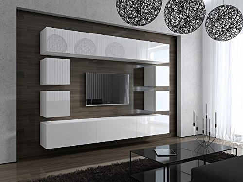 future moderne wohnwand tv schrank wei matt hochglanz. Black Bedroom Furniture Sets. Home Design Ideas