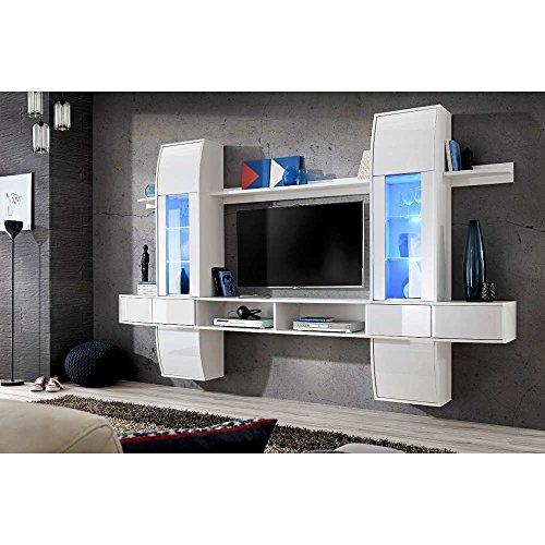 justhome comet i wohnwand wei matt hochglanz. Black Bedroom Furniture Sets. Home Design Ideas