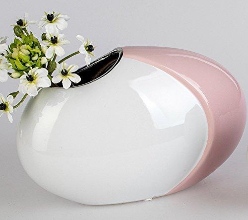 Moderne Deko Vase Oval Aus Keramik Weiss Rosa