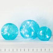 LED Glaskugeln türkis batteriebetrieben