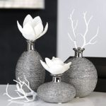 Vase Miro Keramik silber