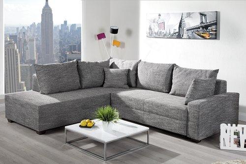design ecksofa strukturstoff grau. Black Bedroom Furniture Sets. Home Design Ideas