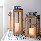 Holz Laterne mit LED